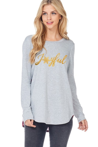 Joyful Tunic Top - Light Gray