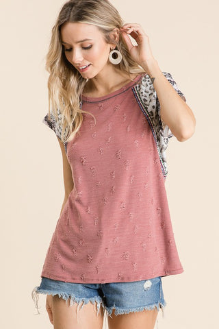 Distressed Leopard Sleeve Top - Marsala