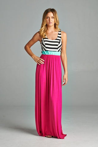 Criss Cross Back Striped Maxi - Pink - Ships Tuesday, March 26th