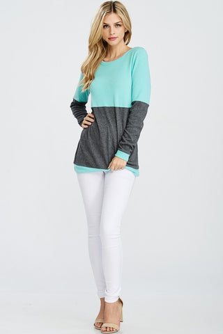 Two Toned Sweater - Mint