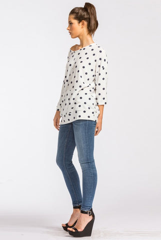 Polka Dot Off Shoulder Top - Ivory