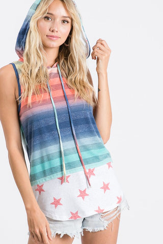 Sleeveless Stars and Stripes Hoodie - Red Stars