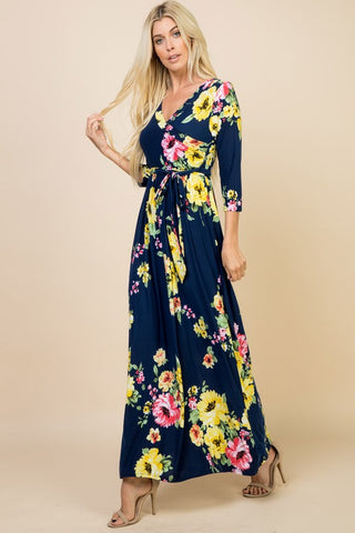 Floral Wrap Maxi Dress - Navy
