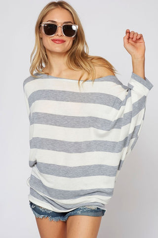 Off Shoulder Striped Top - Gray and Mustard