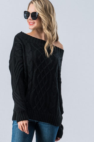 Cable Knit Off Shoulder Sweater - Black
