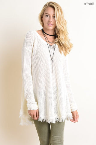 Fringe Pullover Sweater - Off White