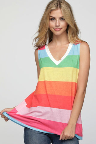 Rainbow Sleeveless Top