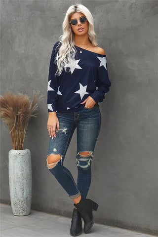 Off the Shoulder Star Top - Navy