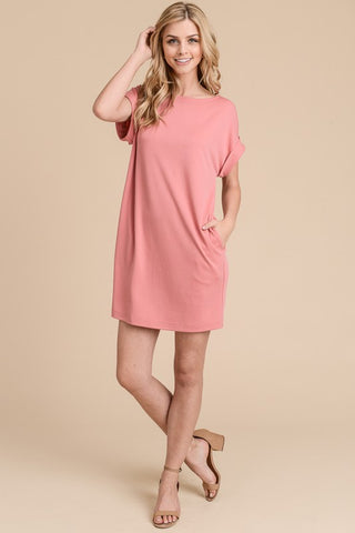 Solid Shift Dress - Coral