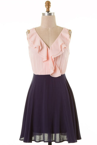 Blush and Navy V-Neck Dress - Blue Chic Boutique  - 1