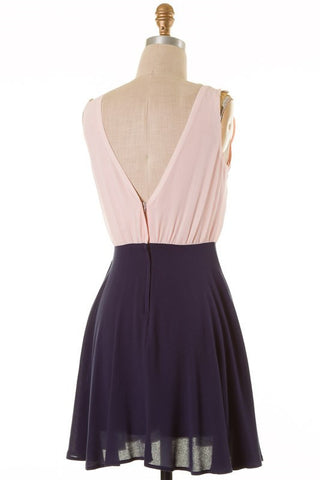 Blush and Navy V-Neck Dress - Blue Chic Boutique  - 3