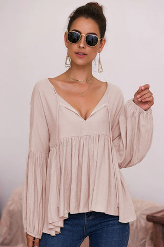 Boho Style Baby Doll Top - Taupe