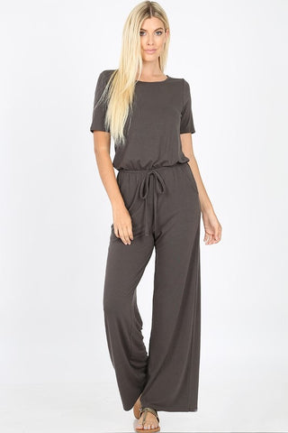 Short Sleeve Jumpsuit - Ash Gray