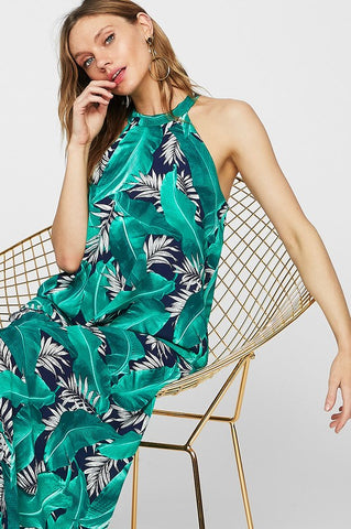 Tropical Palm Dress - Navy