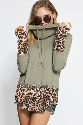Leopard Print Cowl Neck Top - Olive