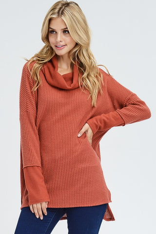 Fireside Cowl Neck Top - Rust