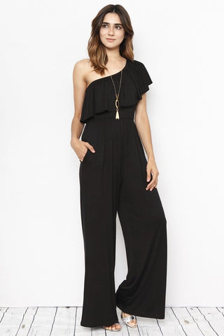 Ruffle Style Jumpsuit - Charcoal