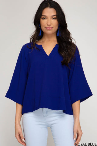 Wide Sleeve V-Neck Top - Royal