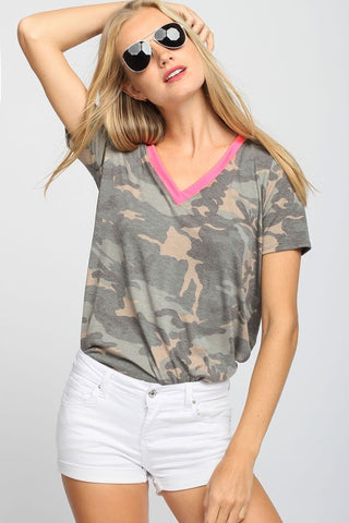 V-Neck Neon Trim Top - Camo