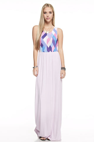 Geometric Print Maxi Dress - Lavender