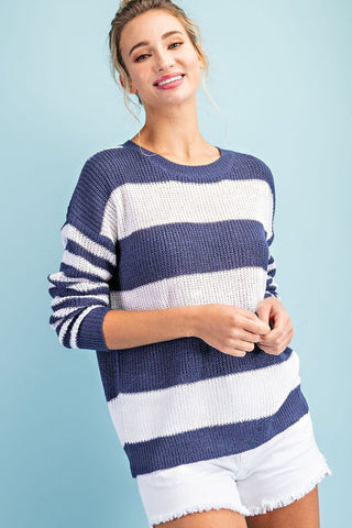 Striped Summer Sweater - Navy