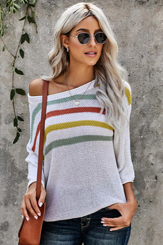 Striped Casual Sweater - White