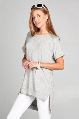Crew Neck High Low Top - Heather Gray - Ships Wednesday
