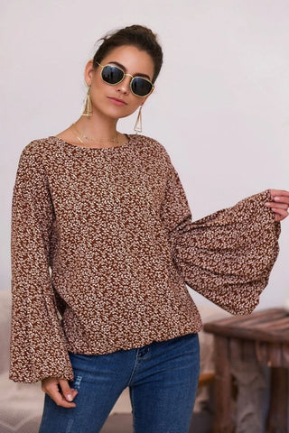 Bell Sleeve Floral Top - Brown