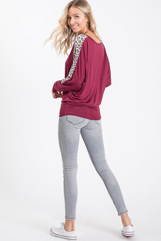 Walk on the Wild Side Leopard Print Top - Burgundy