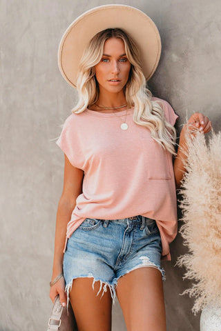 Summer Staple Pocket Tee - Soft Pink