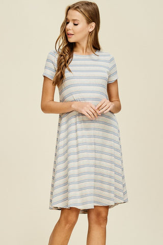 Striped Flowy Dress - Beige