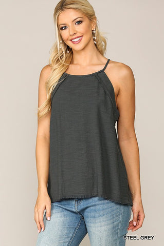 Linen Halter Top - Steel Gray