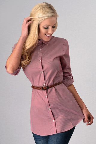 Button Up Belted Tunic - Burgundy