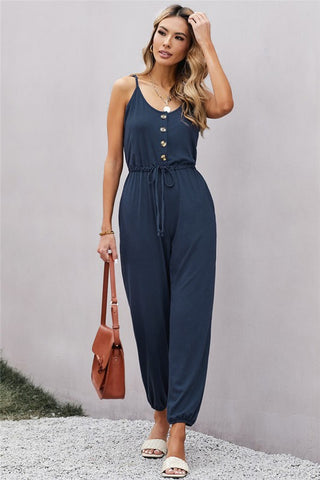 Knit Jumpsuit  with Pockets - Navy