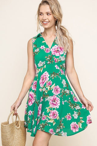 Vintage Style Sleeveless Floral Dress - Green