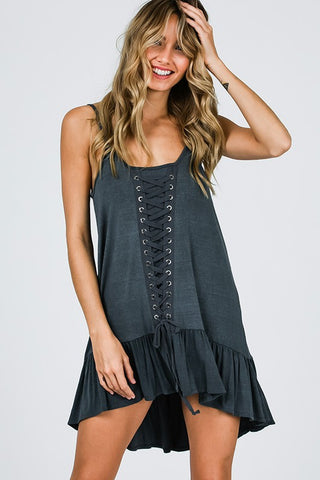 Lace Grommet Vintage Top - Charcoal