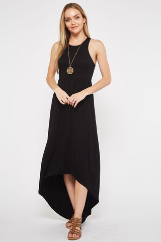 High Low Solid Dress - Black