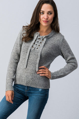 Lace Up Sweater - Gray