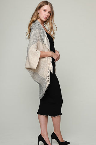 Fringed Shrug - Grey and Beige