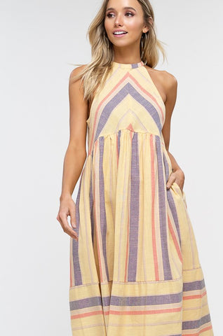 Summer Striped Cotton Midi Dress - Yellow