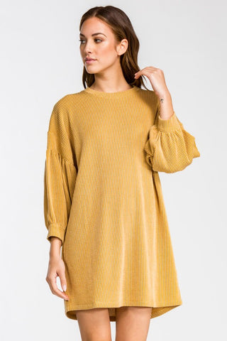 Winter Spirit Bubble Sleeve Dress - Mustard