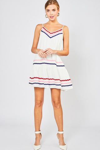 Spaghetti Strap Ribbon Detail Dress - White