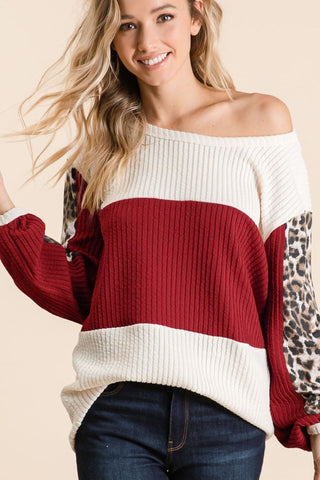 Leopard Sleeve Ribbed Top - Wine