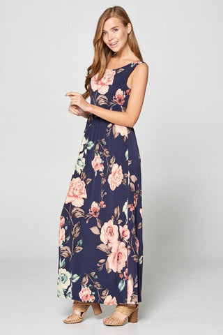 Antique Flowers Open Back Maxi Dress - Navy