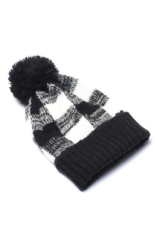 Buffalo Plaid Beanie with Pom Pom - Black and White