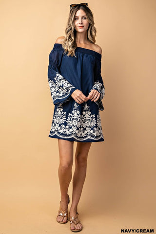 Holiday in Tuscany Off Shoulder Dress - Navy