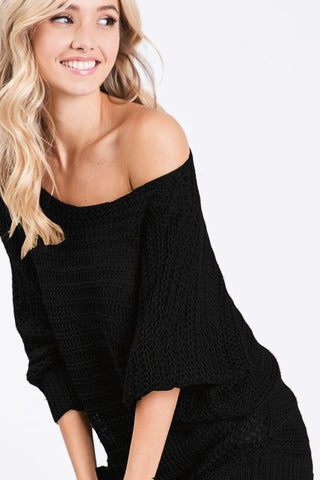 Loose Knit Lightweight Sweater - Black