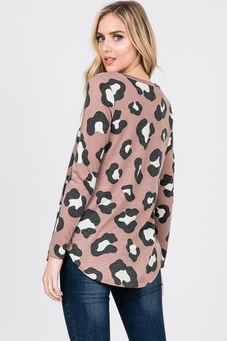 Long Sleeve Leopard Print Top - Rosy Brown