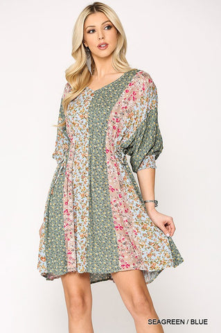 Disty Floral Peplum Dress - Green