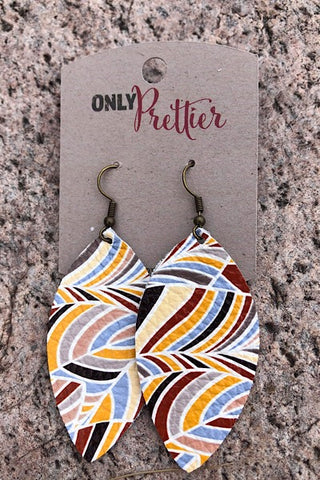 Leather Earrings - Yellow Swirl
